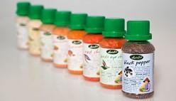 Red Chilli, Ginger, Turmeric, Coriander, White Pepper, Bird's Eye Chilli, Cinnamon, Clove, Black Pepper, and Nutmeg Packaging